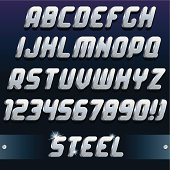 Polished Metallic Letters and Numbers. Vector Set