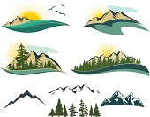 """""""Set of outdoor icons featuring mountains, cedar and pine trees, sunrise/sunsets, oceans, and birds.  Great pieces to use with copyspace."""""""