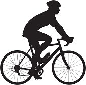 Vector of a biker with helmet biking