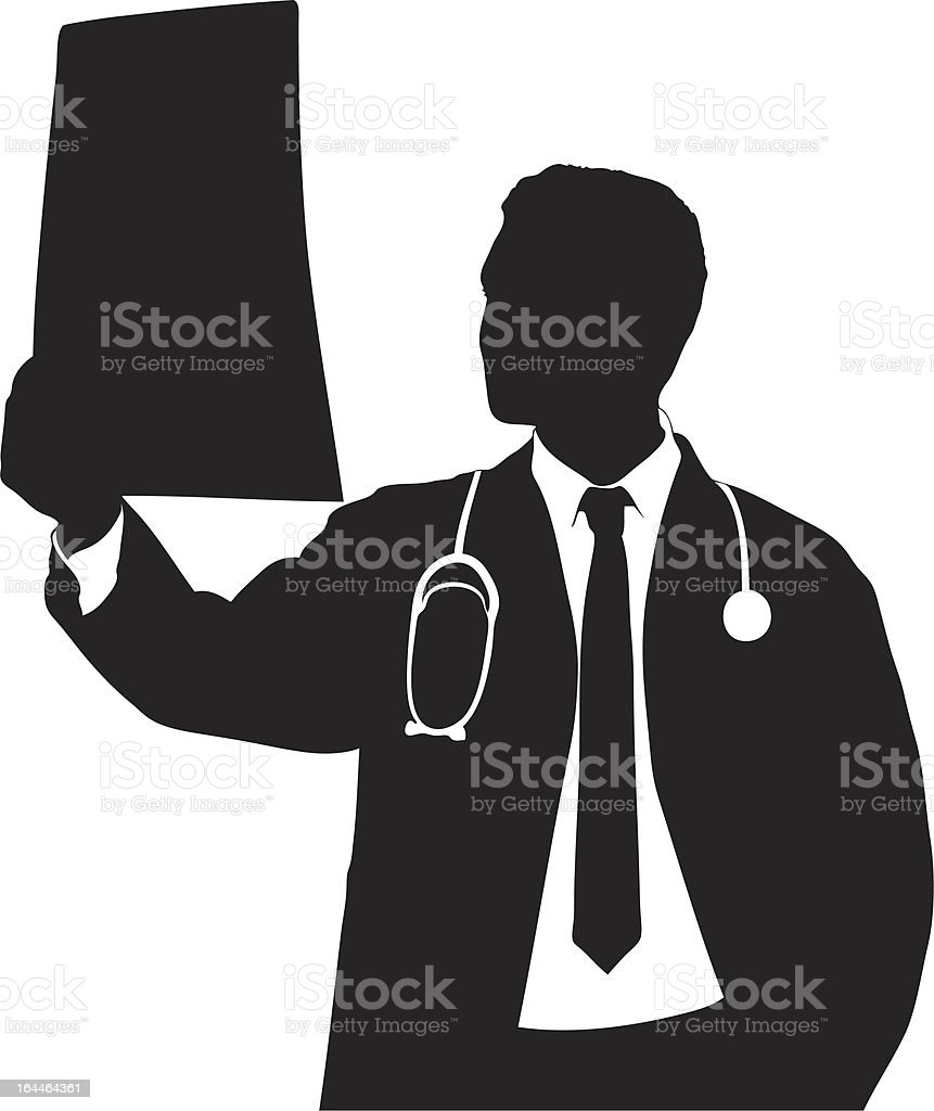 Vector of a doctor examining CT scan royalty-free stock vector art