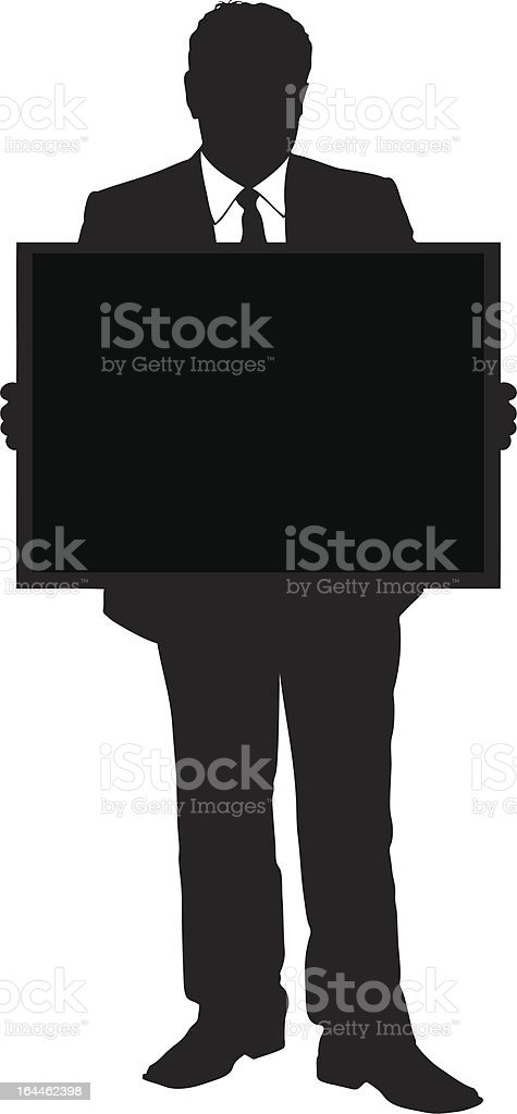 Vector of a mature businessman holding panel royalty-free stock vector art