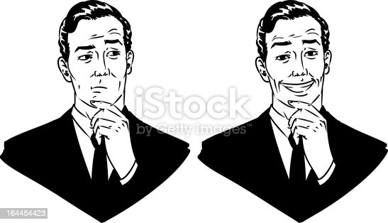 Hand drawn vector business man clip art with different facial expressions.