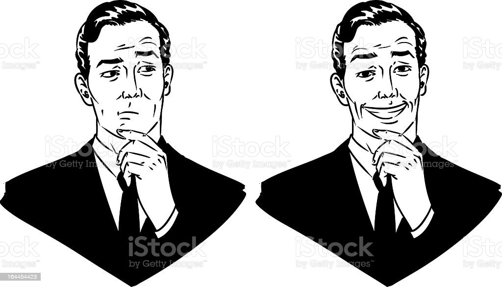 Vector of businessman with facial expressions vector art illustration
