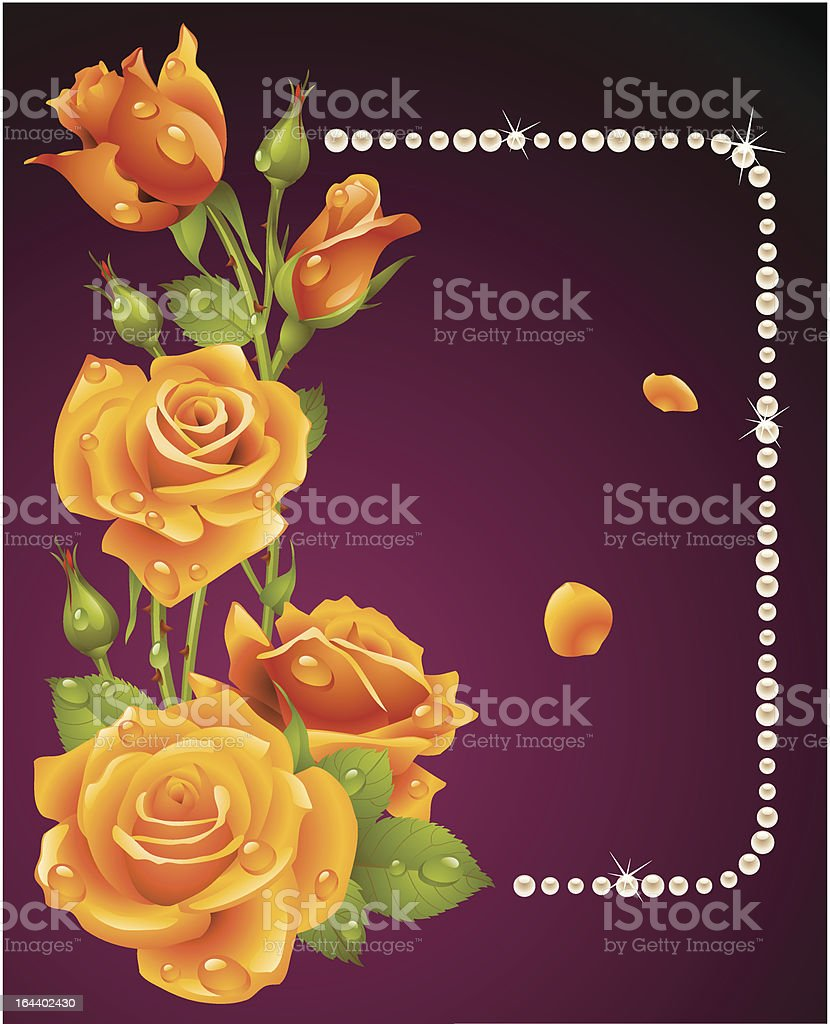 Vector orange rose and pearls frame royalty-free stock vector art