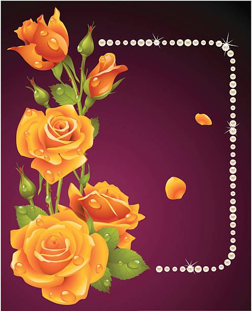 vektor orange rose und perlen frame - perlenstrauß stock-grafiken, -clipart, -cartoons und -symbole