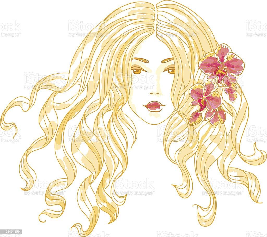 Vecteur portrait d'une jeune fille avec des fleurs d'orchidées. - Illustration vectorielle