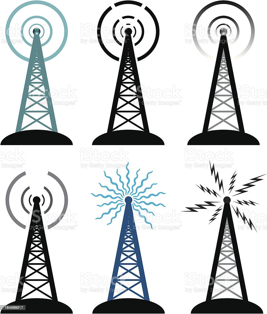 vector radio tower symbols vector art illustration