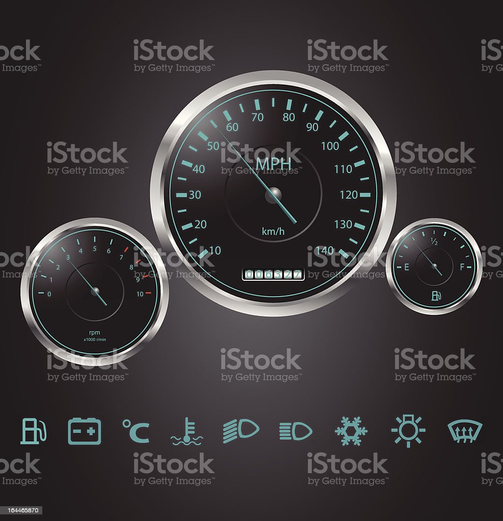 Vector realistic car dashboard royalty-free stock vector art