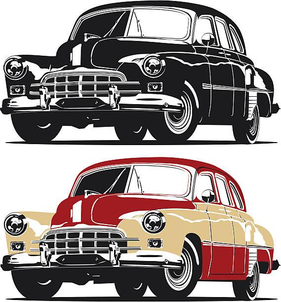 vector retro limousine - 1940s style stock illustrations, clip art, cartoons, & icons