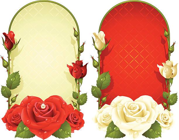 vektor rose vertikale frames set - perlenstrauß stock-grafiken, -clipart, -cartoons und -symbole
