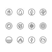 Vector round icon set of fire, water, earth and air elements and seasons of year in thin line style