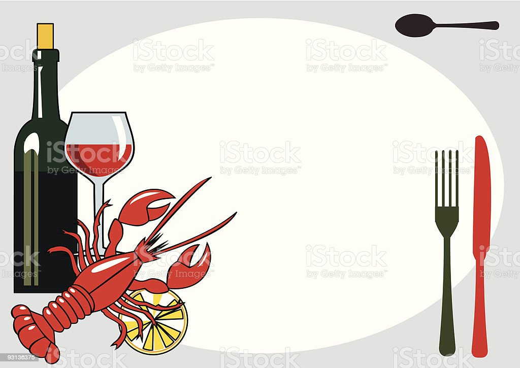 Vector seafood dinner vector art illustration