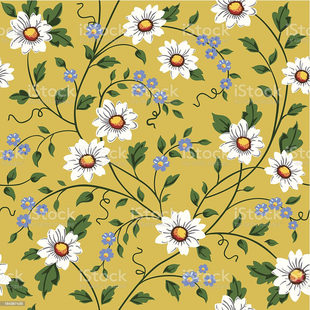 Vector seamless daisy pattern vector art illustration