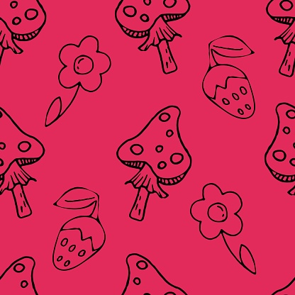 vector seamless pattern, fly agaric, wild strawberry, flower on a pink background