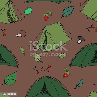 vector seamless pattern, tents on a brown background