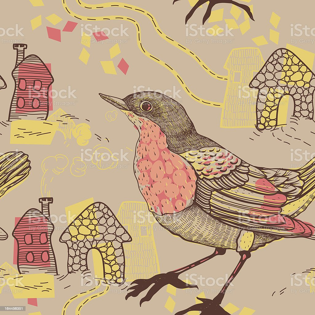 vector seamless pattern with birds and houses royalty-free stock vector art