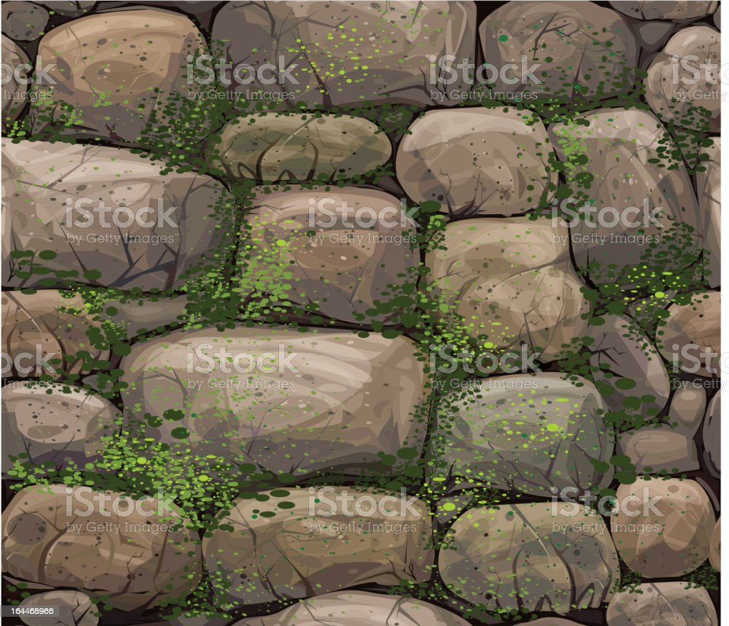 Vector seamless texture of stones covered moss. vector art illustration
