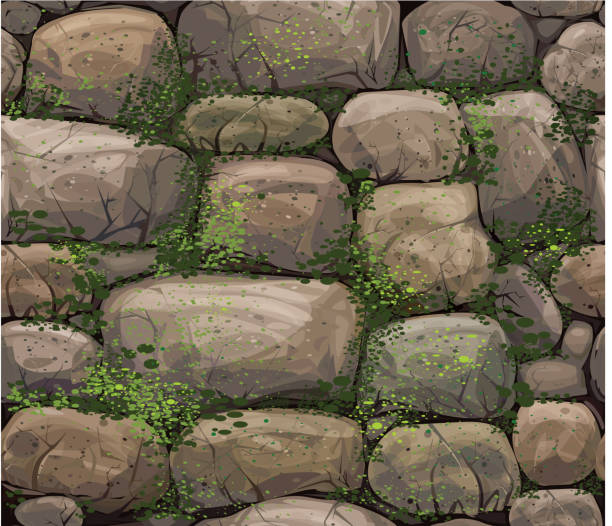 """Vector seamless texture of stones covered moss. """"Background is my creative handdrawing and you can use it for your design, moss is in separeted level, made in vector, Adobe Illustrator 8 EPS file."""" moss stock illustrations"""