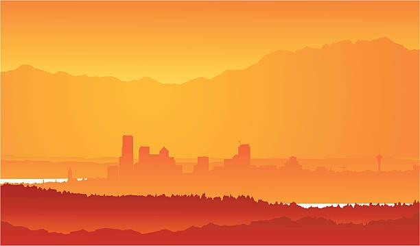 Vector - Seattle Skyline from afar vector art illustration