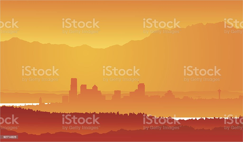 Vector - Seattle Skyline from afar vector art illustration