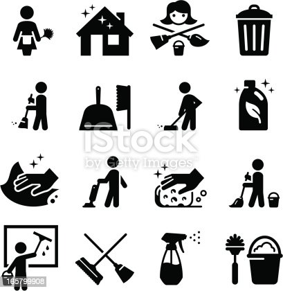 Maid services and cleaning icon set. Professional clip art for your print or Web project. See more icons in this series.
