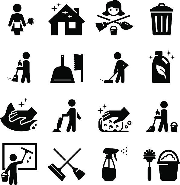 vector set of black cleaning icons - cleaning stock illustrations