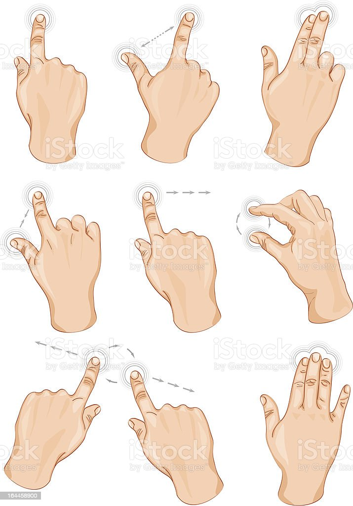 Vector set of commonly used multitouch gestures vector art illustration