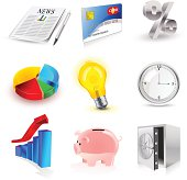 vector set of finance 3d icons