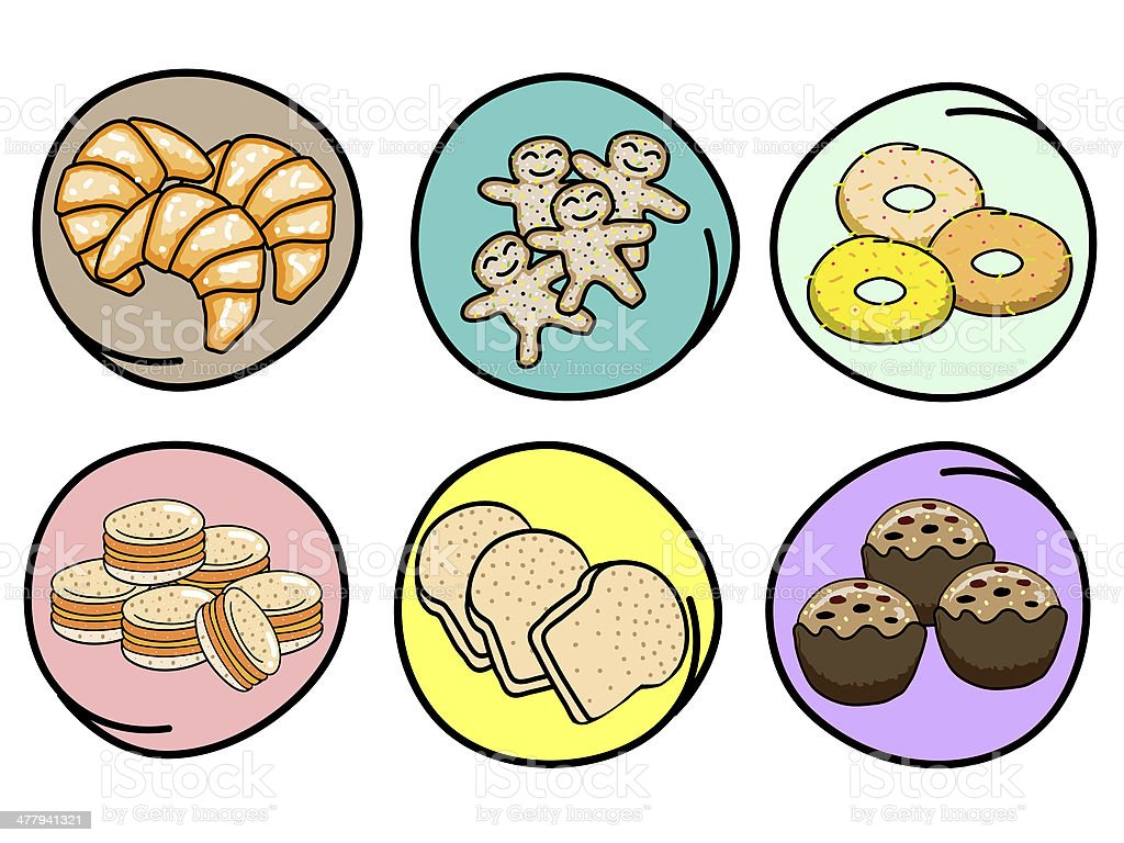 Vector Set of Fresh Bakery on Round Background royalty-free vector set of fresh bakery on round background stock vector art & more images of art and craft