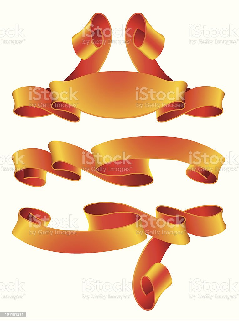 Vector set of gold banners royalty-free stock vector art