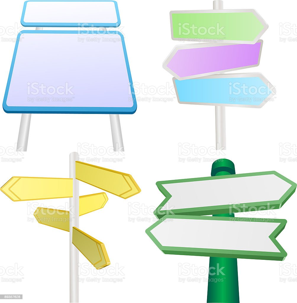 Vector set of signs and signposts royaltyfri vector set of signs and signposts-vektorgrafik och fler bilder på affischera
