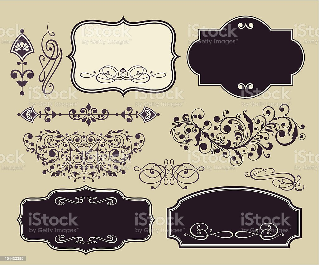 vector set of vintage shapes and ornaments stock vector