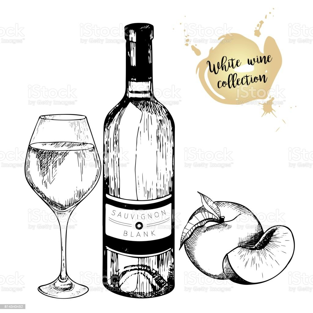 Vector Set Of White Wine In Engraved Vintage Style Bottle Glass And Peach