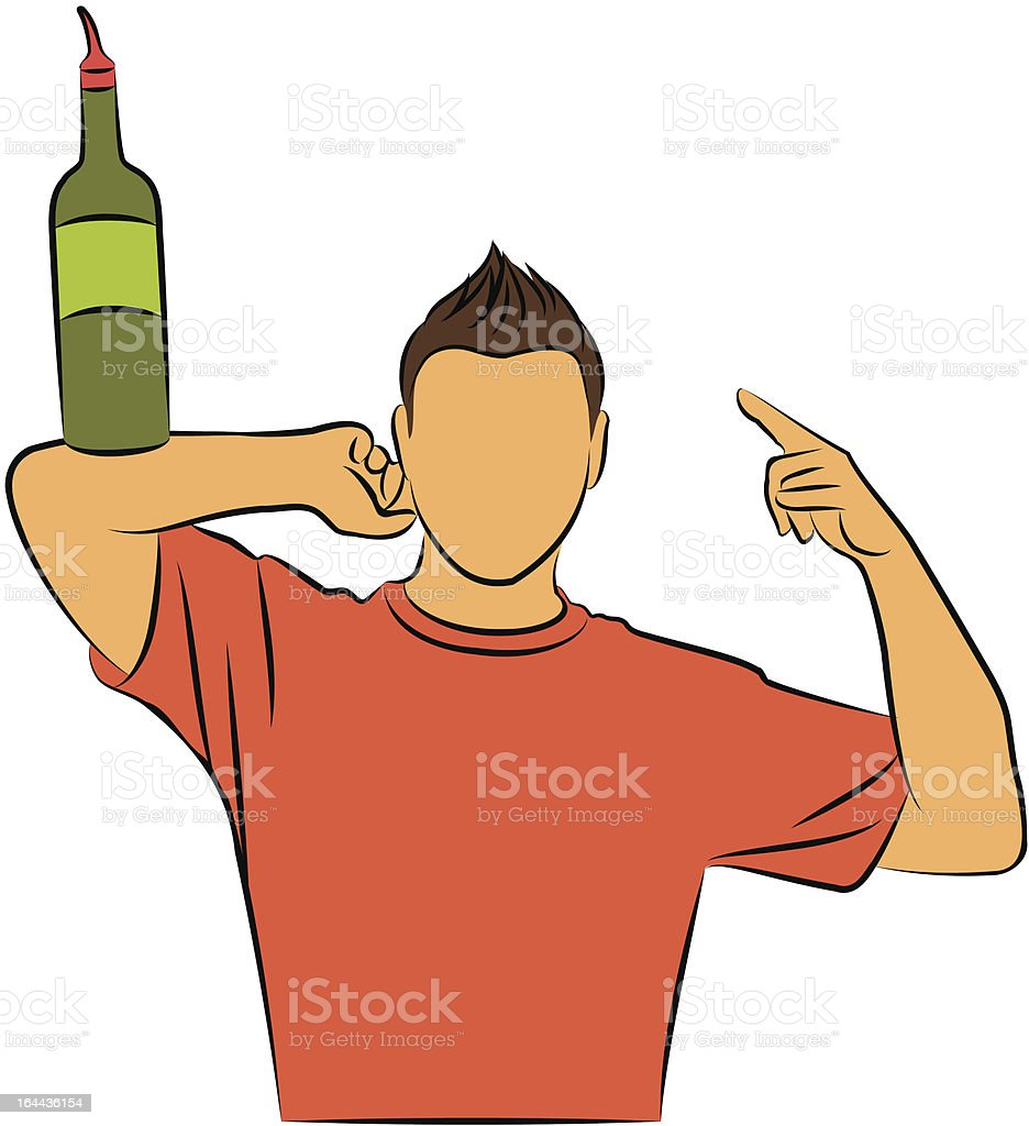 Vector silhouette of barman showing tricks with a bottle vector art illustration