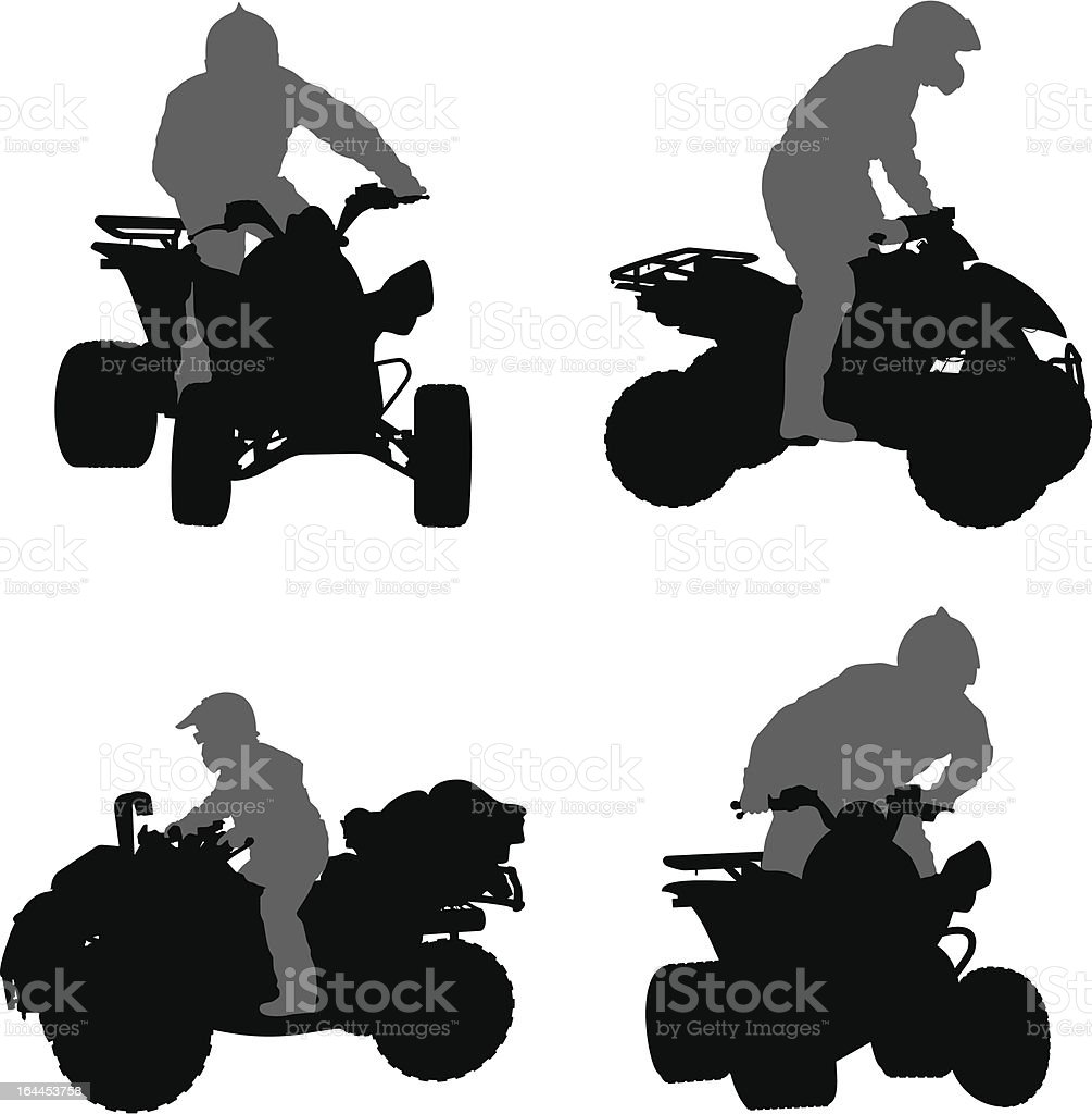 Vector silhouettes of ATV vector art illustration