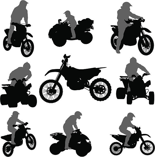 Vector silhouettes of motorcycles and ATVs The silhouette of the extreme off-road vehicles with the possibility of use of certain elements of the picture quadbike stock illustrations