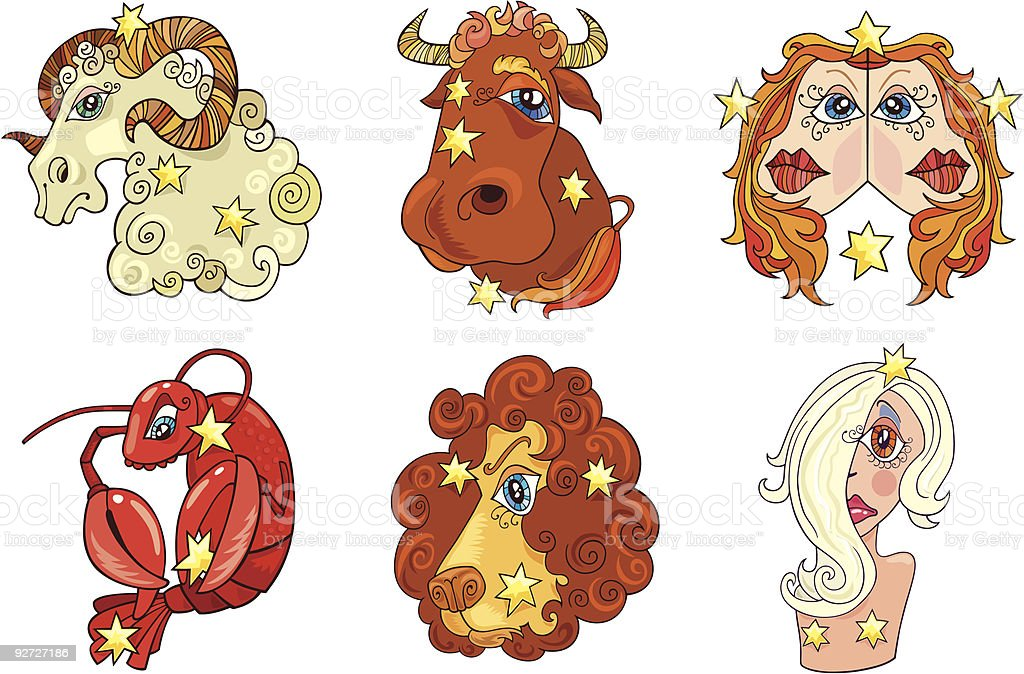 vector six zodiac signs royalty-free stock vector art