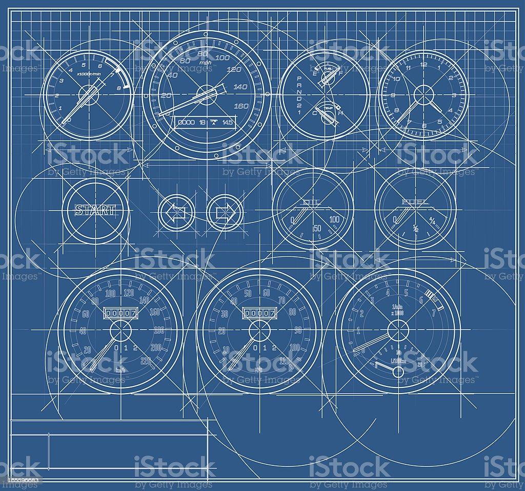 Vector Speedometer Dashboard Blueprint royalty-free stock vector art