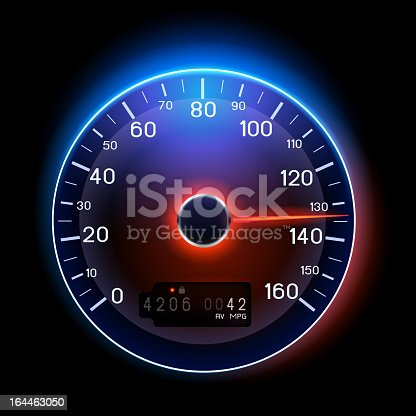 Vector Speedometer. EPS10 file which uses transparencies. Fonts and numbers created in vector illustration software.