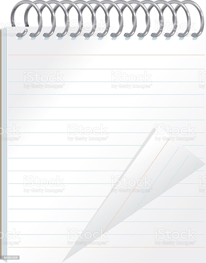 Vector Spiral Bound Lined Notepad stationery vector art illustration