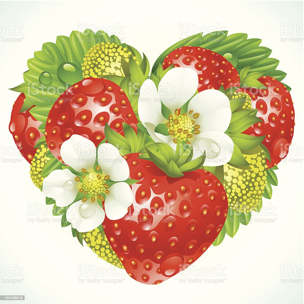 Vector strawberries in the shape of heart royalty-free stock vector art