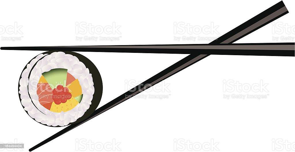 vector sushi and chopsticks vector art illustration