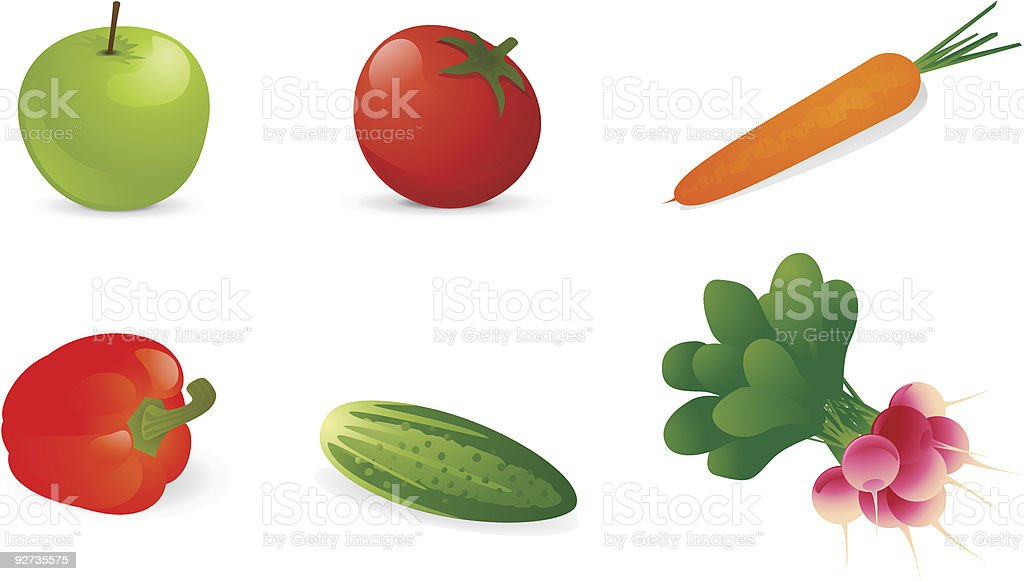 Vektor-Gemüse und Obst. Lizenzfreies vektorgemüse und obst stock vektor art und mehr bilder von apfel