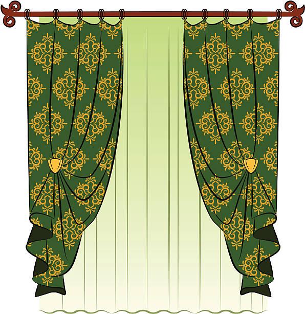 vektor vintage-vorhang - stoffrollos stock-grafiken, -clipart, -cartoons und -symbole