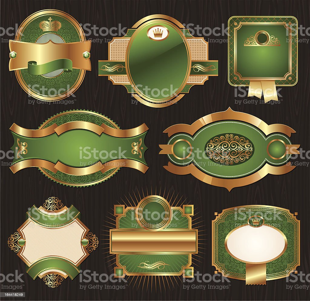 Vector vintage golden-green luxury ornate framed labels vector art illustration