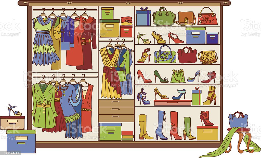 Vector wardrobe with various shoes, bags and clothes royalty-free stock vector art