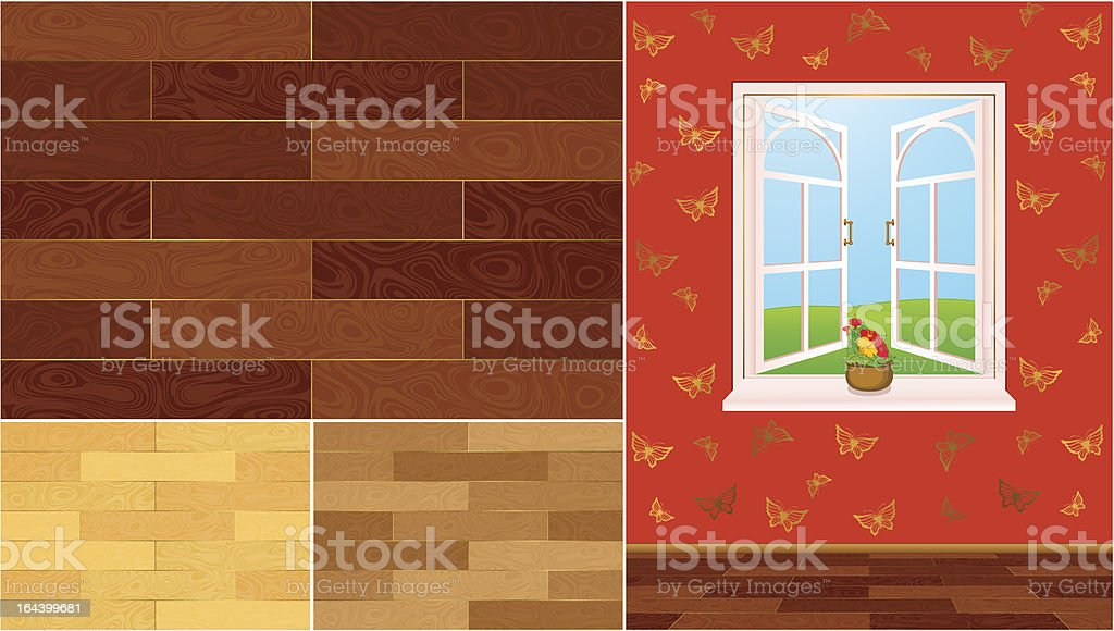 Vector wood texture swatches for a home interior royalty-free stock vector art