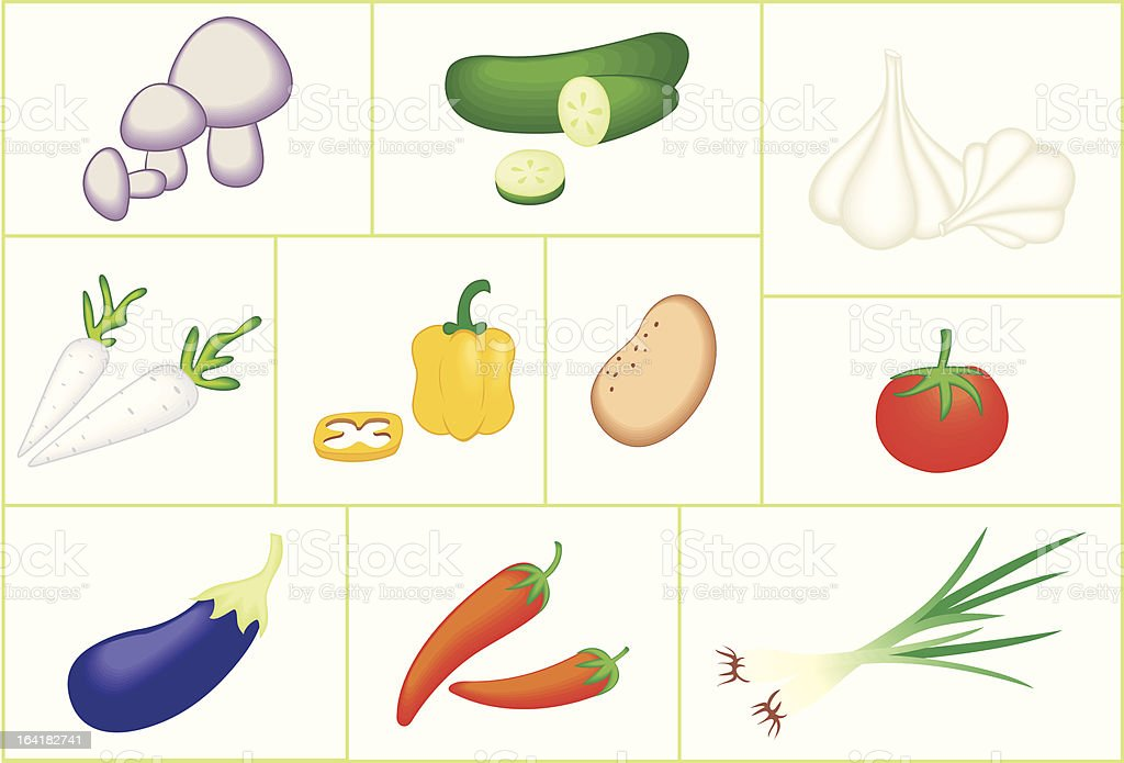 Vegetable Collection royalty-free vegetable collection stock vector art & more images of clip art
