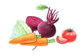 Vegetables and root vegetables. Beets, cabbage, carrots and tomatoes.
