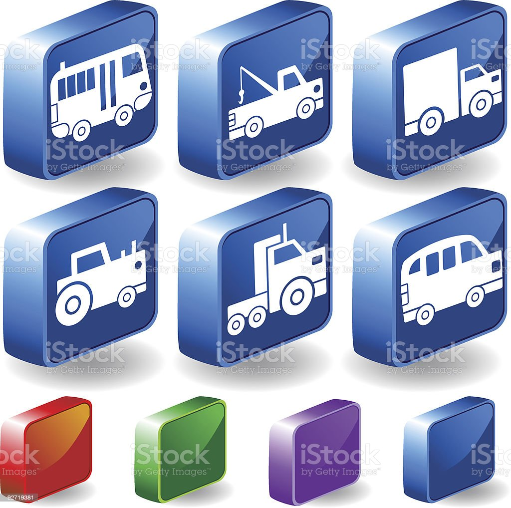 Vehicle 3D Icons royalty-free stock vector art